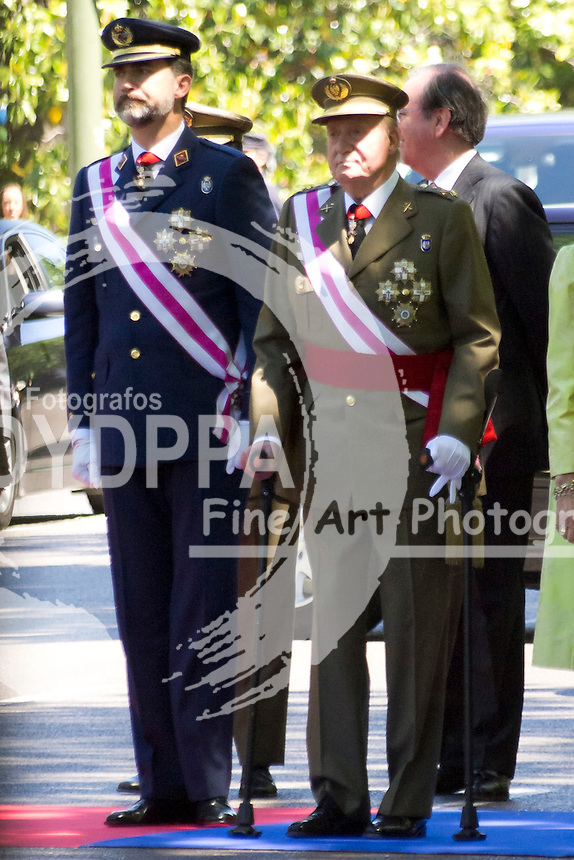01.06.2013. Madrid. Spain. Spanish Royal family attend the Armed Forces Day. In the image: Prince Felipe of Spain and King Juan Carlos of Spain. (C) Ivan L. Naughty / DyD Fotografos//