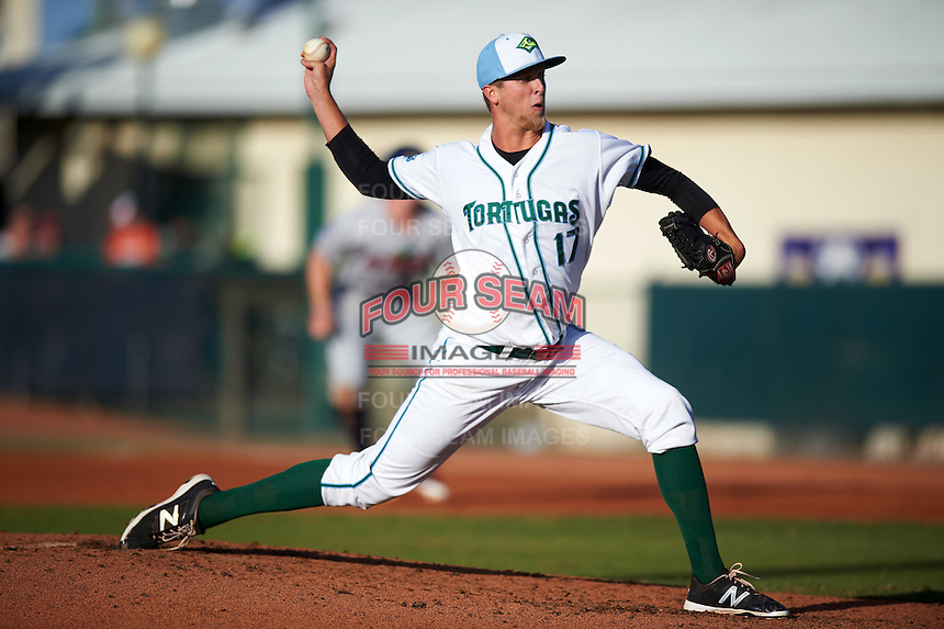 Daytona Tortugas starting pitcher Jake Paulson (17) delivers a pitch during a game against the Fort Myers Miracle on April 17, 2016 at Jackie Robinson Ballpark in Daytona, Florida.  Fort Myers defeated Daytona 9-0.  (Mike Janes/Four Seam Images)