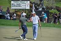 Billy Horschel (USA) congratulates Francesco Molinari (ITA) on his birdie putt on 18 for the win during round 4 of the Arnold Palmer Invitational at Bay Hill Golf Club, Bay Hill, Florida. 3/10/2019.<br /> Picture: Golffile | Ken Murray<br /> <br /> <br /> All photo usage must carry mandatory copyright credit (© Golffile | Ken Murray)