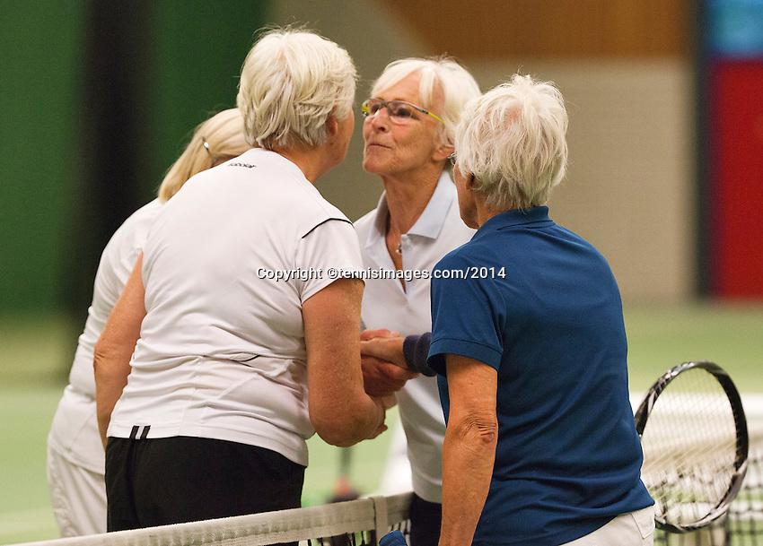 August 22, 2014, Netherlands, Amstelveen, De Kegel, National Veterans Championships, Wil Baks(L) and Anneke Jeltsma-de Jong<br /> Photo: Tennisimages/Henk Koster