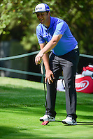 Jon Rahm (ESP) reacts to sinking a birdie putt on 3 from off the fringe during round 1 of the World Golf Championships, Mexico, Club De Golf Chapultepec, Mexico City, Mexico. 3/2/2017.<br /> Picture: Golffile | Ken Murray<br /> <br /> <br /> All photo usage must carry mandatory copyright credit (&copy; Golffile | Ken Murray)