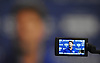 A video recorder's LCD screen shows New York Giants head coach McAdoo speaking with the media after practice at Quest Diagnostics Training Center in East Rutherford, NJ on Monday, Aug. 29, 2016.