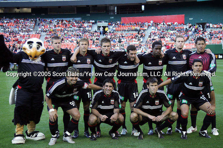 21 May 2005: DC United starting eleven, plus mascot Talon (far left). DC United defeated the Kansas City Wizards 3-2 at RFK Stadium in Washington, DC in a regular season Major League Soccer game. .