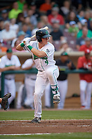 Dayton Dragons catcher Tyler Stephenson (9) at bat during a game against the Cedar Rapids Kernels on May 10, 2017 at Fifth Third Field in Dayton, Ohio.  Cedar Rapids defeated Dayton 6-5 in ten innings.  (Mike Janes/Four Seam Images)