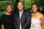 From left: Brenda Williams, Marcus Smith and Dr. Jakeen Johnson at the Five-A Spring Party at the Bayou Bend Collection & Gardens Monday April 25,2010.. (Dave Rossman Photo)