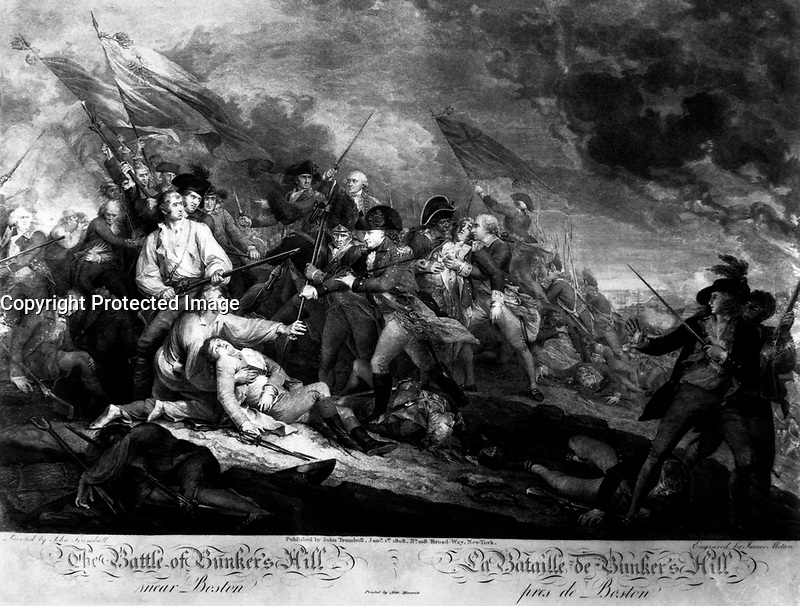The Battle of Bunker's Hill, near Boston.  June 1775.  Copy of engraving by James Mitan after John Trumbull, published 1808.   (George Washington Bicentennial Commision)<br />