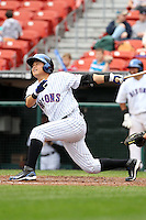 Buffalo Bisons second baseman Chin-lung Hu #2 at bat during a game against the Charlotte Knights at Dunn Tire Park on May 22, 2011 in Buffalo, New York.  Buffalo defeated Charlotte by the score of 7-5.  Photo By Mike Janes/Four Seam Images