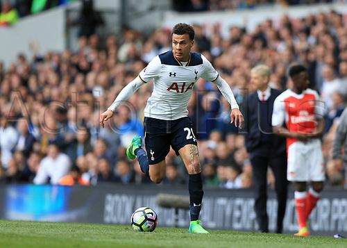 April 30th 2017, White Hart Lane, Tottenham, London England; EPL Premier League football Tottenham Hotspur versus Arsenal; Dele Alli of Tottenham Hotspur charging forward with the ball