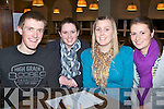TABLE QUIZ: Competing in the Tralee Bicycle Club table quiz at the Earl of Desmond hotel on Thursday l-r: Denis Keane, Ballymac, Tracy O'Carroll, Abbeydorney and Aoife Cleary and Sarah Hunt, Tralee.