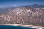 Aerial view of rugged hills and terrain of Santa Cruz Island, Channel Islands, Southern California Coast
