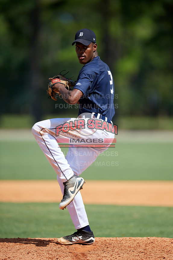 GCL Tigers East starting pitcher Angel De Jesus (9) delivers a pitch during a game against the GCL Tigers West on August 8, 2018 at Tigertown in Lakeland, Florida.  GCL Tigers East defeated GCL Tigers West 3-1.  (Mike Janes/Four Seam Images)