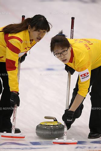(L to R) Jiang Yilun (CHN), Liu Jinli (CHN),<br /> MARCH 19, 2015 - Curling : World Women's Curling Championship 2015 Round Robin match between Finland and China at Tsukisamu Gymnasium in Sapporo, Hokkaido, Japan. (Photo by Jun Tsukida/AFLO SPORT)