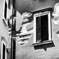 Stucco and Brick Patterns on Buildings in Verona, Italy. Painterly effect from photograph.