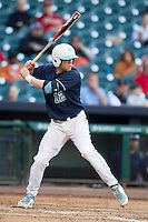 North Carolina Tar Heels shortstop Landon Lassiter #12 at bat during the NCAA baseball game against the Rice Owls on March 1st, 2013 at Minute Maid Park in Houston, Texas. North Carolina defeated Rice 2-1. (Andrew Woolley/Four Seam Images).