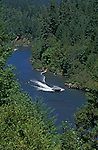 Jet boat on Rogue River near Foster Bar & Illahe, Siskiyou National Forest, Oregon.