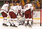 Chuck Van Kula (BC - 33) in net as the newest goalie for the Eagles. - The Boston College Eagles defeated the Harvard University Crimson 3-2 in the opening round of the Beanpot on Monday, February 1, 2016, at TD Garden in Boston, Massachusetts.