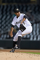 Charlotte Knights relief pitcher Gregory Infante (45) in action against the Buffalo Bison at BB&T BallPark on August 14, 2018 in Charlotte, North Carolina. The Bison defeated the Knights 14-5.  (Brian Westerholt/Four Seam Images)