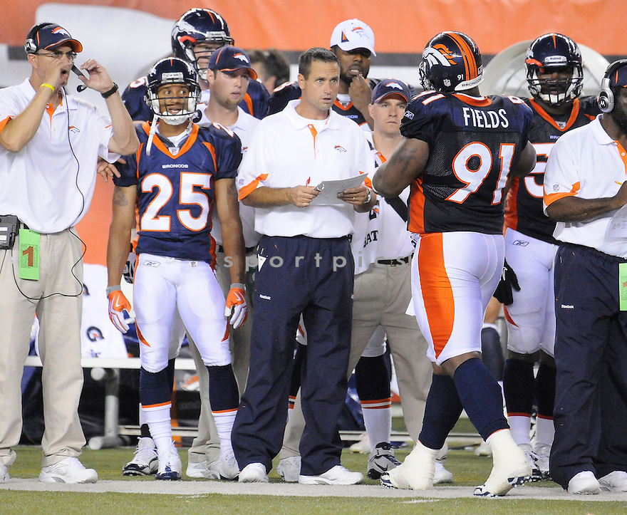 JOSH MCDANIELS, of the Denver Broncos  in action during the Broncos game against the Cincinnati Bengals at Paul Brown Stadium in Cincinnati, OH.  on August 20, 2010.  The Bengals beat the Broncos 22-9 in the second week of preseason games...