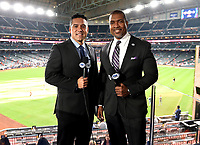 HOUSTON - OCTOBER 22: Fox Deportes' Rolando Nichols and Carlos Alvarez at World Series Game 1: Washington Nationals at Houston Astros on Fox Sports at Minute Maid Park on October 22, 2019 in Houston, Texas. (Photo by Frank Micelotta/Fox Sports/PictureGroup)