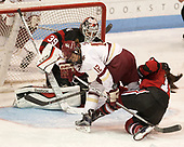 Brittany Bugalski (NU - 39), Kenzie Kent (BC - 12), Matti Hartman (NU - 16) - The Boston College Eagles defeated the Northeastern University Huskies 2-1 to win the Beanpot on Monday, February 7, 2017, at Matthews Arena in Boston, Massachusetts.