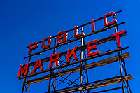 Public Market neon sign at the Pike Place Market, Seattle, Washington USA.
