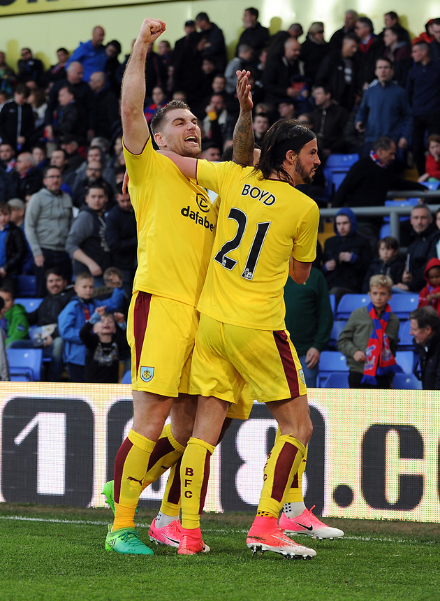 Burnley's Sam Vokes and George Boyd celebrate Andre Gray's goal<br /> <br /> Photographer Ashley Western/CameraSport<br /> <br /> The Premier League - Crystal Palace v Burnley - Wednesday 26th April 2017 - Selhurst Park - London<br /> <br /> World Copyright &not;&copy; 2017 CameraSport. All rights reserved. 43 Linden Ave. Countesthorpe. Leicester. England. LE8 5PG - Tel: +44 (0) 116 277 4147 - admin@camerasport.com - www.camerasport.com