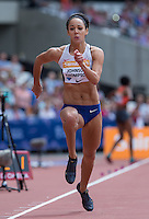 Katrina JOHNSON-THOMPSON of GBR competes in the Long Jump during the Sainsburys Anniversary Games at the Olympic Park, London, England on 25 July 2015. Photo by Andy Rowland.