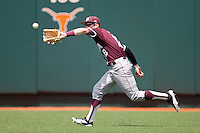 Texas A&M Aggies outfielder Tyler Naquin #18 makes a catch in the outfield during the NCAA baseball game against the Texas Longhorns on April 28, 2012 at UFCU Disch-Falk Field in Austin, Texas. The Aggies beat the Longhorns 12-4. (Andrew Woolley / Four Seam Images).