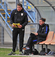 Monfalcone, Italy, April 26, 2016.<br /> Usa's head coach Taliaferro (R) and his assistant coach during USA v Iran football match at Gradisca Tournament of Nations (women's tournament). Monfalcone's stadium.<br /> &copy; ph Simone Ferraro / Isiphotos