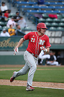 Ryan Boldt (21) of the Nebraska Cornhuskers runs to first base during a game against the Long Beach State Dirtbags in the first game of a doubleheader at Blair Field on March 5, 2016 in Long Beach, California. Long Beach State defeated Nebraska, 1-0. (Larry Goren/Four Seam Images)
