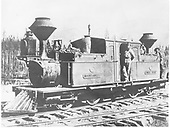 3/4 view of D&amp;RG Vulcan Fairlie 0-4-4-0T #13 (later #101) &quot;Mountaineer&quot; posing with her crews on La Veta Pass.<br /> D&amp;RG  La Veta, CO