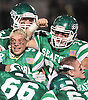 Seaford varsity football teammates celebrate after their 20-0 win over Carle Place-Wheatley in the Nassau County varsity football Conference IV final at Hofstra University on Saturday, Nov. 19, 2016.
