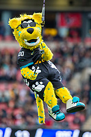 3rd November 2019; Wembley Stadium, London, England; National Football League, Houston Texans versus Jacksonville Jaguars; The Jaguars mascot, Jackson, drops from the roof of the stadium - Editorial Use