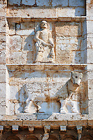 Sculpture of St Peter on the 12th century Romanesque facade of the Chiesa di San Pietro extra moenia (St Peters), Spoletto, Italy