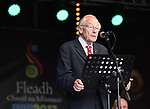CCE National Treasurer, Padraig O'Duffy speaking at the official opening of the All-Ireland Fleadh 2017 in Ennis. Photograph by John Kelly.