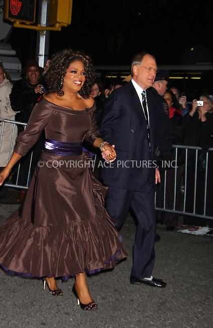 "WWW.ACEPIXS.COM . . . . .  ......December 1 2005, New York City....Following a long-running feud, Oprah Winfrey finally appears on ""The Late Show with David Letterman"".........Please byline: AJ Sokalner - ACEPIXS.COM.... *** ***..Ace Pictures, Inc:  ..Philip Vaughan (212) 243-8787 or (646) 769 0430..e-mail: info@acepixs.com..web: http://www.acepixs.com"