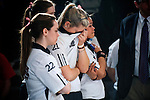14 APR 2012: Megnan Kelly (21) of Fairleigh Dickinson University hides her tears during the final frames of the Division I Womens Bowling Championship held at Freeway Lanes in Wickliffe, OH.  The University of Maryland Eastern Shore defeated Fairleigh Dickinson 4-2 to win the national title.  Jason Miller/NCAA Photos