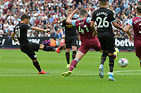 David Silva of Manchester City shoots wide during West Ham United vs Manchester City, Premier League Football at The London Stadium on 10th August 2019