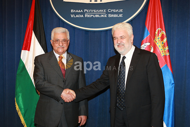 President Mahmoud Abbas during a meeting with the Prime Minister of Serbia Mirko Tesfetkovic in Serbia, on July 8, 2009  photo by thaer ganaim