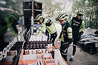 grabbing the necessary nutrition for a long training ride<br /> <br /> Team Trek-Segafredo men's team<br /> training camp<br /> Mallorca, january 2019<br /> <br /> &copy;kramon