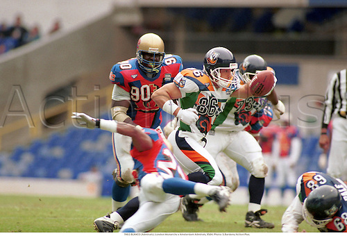 THEO BLANCO (Admirals), London Monarchs v Amsterdam Admirals, Crystal palace, 9504. Photo: Steve Bardens/Action Plus...American Football.1995.Gridiron.gridiron