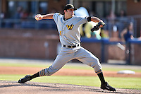West Virginia Power starting pitcher Bret Helton (35) delivers a pitch during a game against the  Asheville Tourists at McCormick Field on June 25, 2016 in Asheville, North Carolina. The Tourists defeated the Power 8-4. (Tony Farlow/Four Seam Images)