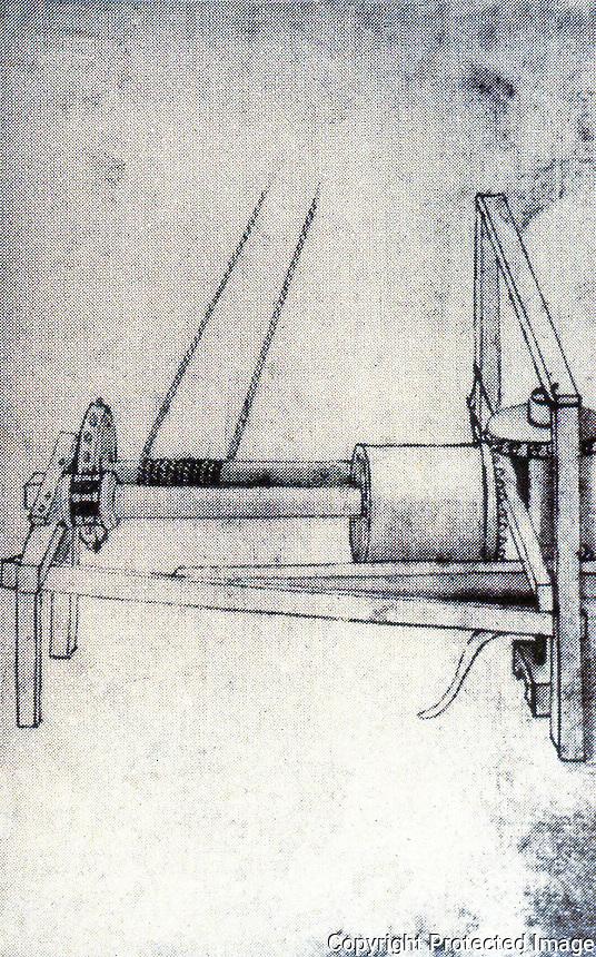Technology:  Brunelleschi's Machines--reversible hoist.  Drawn by Buonaccorso Ghiberti.  Photo '91.