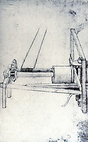 Technology:  Brunelleschi's Machines--reversible hoist.  Drawn by Buonaccorso Ghiberti.  Photo '91.