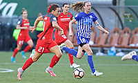 Portland, OR - Saturday May 27, 2017: Hayley Raso, Julie King during a regular season National Women's Soccer League (NWSL) match between the Portland Thorns FC and the Boston Breakers at Providence Park.