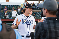 Peoria Javelinas pitcher Matt Krook (16), of the Tampa Bay Rays organization, talks to the media after winning the Arizona Fall League Championship game against the Salt River Rafters at Scottsdale Stadium on November 17, 2018 in Scottsdale, Arizona. Peoria defeated Salt River 3-2 in 10 innings. (Zachary Lucy/Four Seam Images)