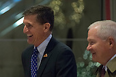 Lieutenant General Michael Flynn (L) and Former Secretary of Defense Robert Gates (R) are seen in the lobby of Trump Tower in New York, NY, USA on December 1, 2016. <br /> Credit: Albin Lohr-Jones / Pool via CNP