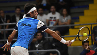 BOGOTA-COLOMBIA, 06-03-2020: Leandro Mayer de Argentina, devuelve la bola a Daniel Galan de Colombia, durante partidos de los enfrentamientos para Las clasificatorias Copa Davis by Rakuten 2020 entre Colombia y Argentina en el Palacio de los Deportes en la ciudad de Bogota. / Leandro Mayer of Argentina, returns the ball to Daniel Galan of Colombia during matches of the clashes for the Davis Cup by Rakuten 2020 qualifiers between Colombia and Argentina at the Palacio de los Deportes in Bogota city. / Photo: VizzorImage / Luis Ramirez / Staff.
