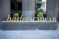 New York, New York City, during the time of the Coronavirus. Charles Schwab sign.