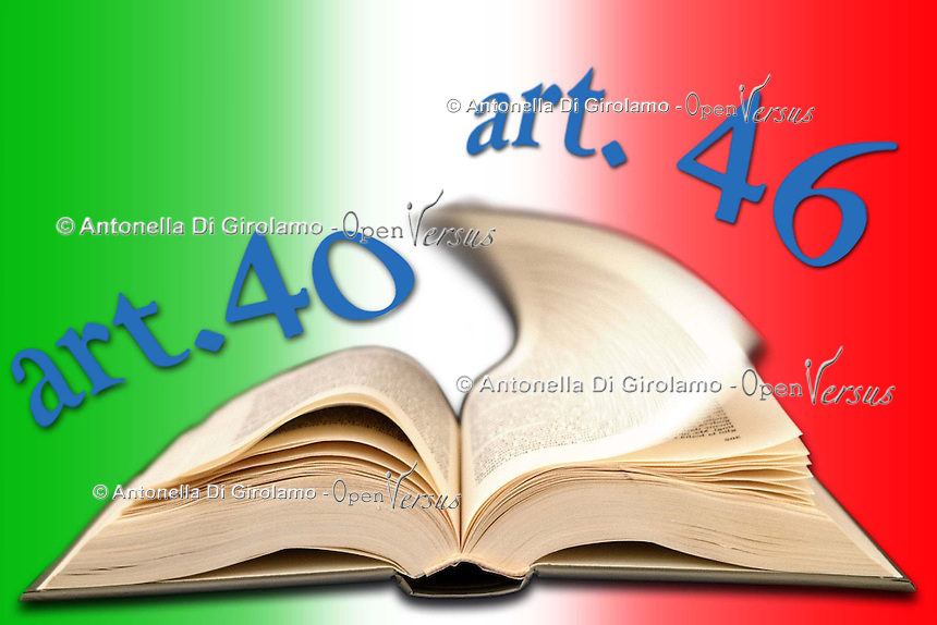 Articoli della costituzione italiana che regolano il diritto di sciopero. Articles of the italian constitution governing the right to strike......